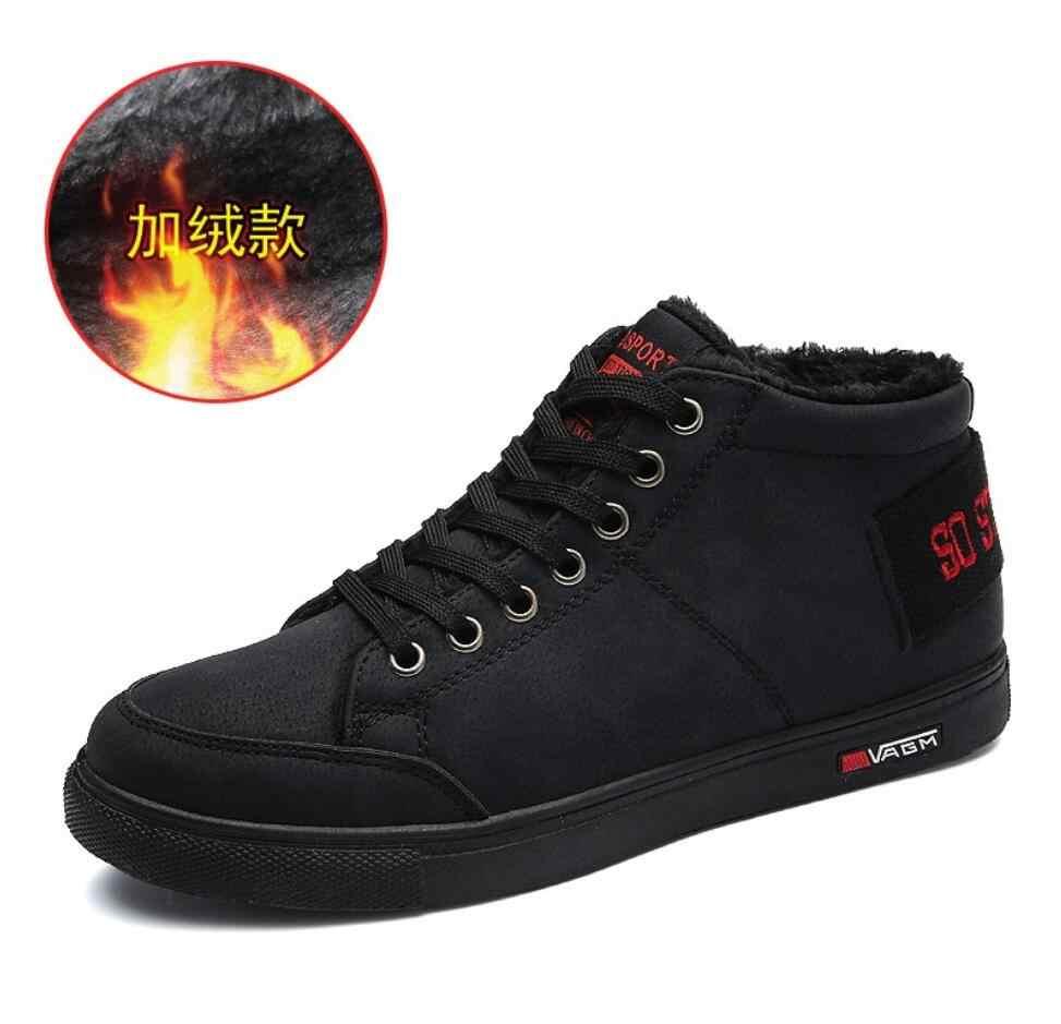 f3c0dd65fa67 Мужские зимние ботинки, мужские зимние кожаные ботильоны, непромокаемые  теплые меховые повседневные кроссовки, chaussure