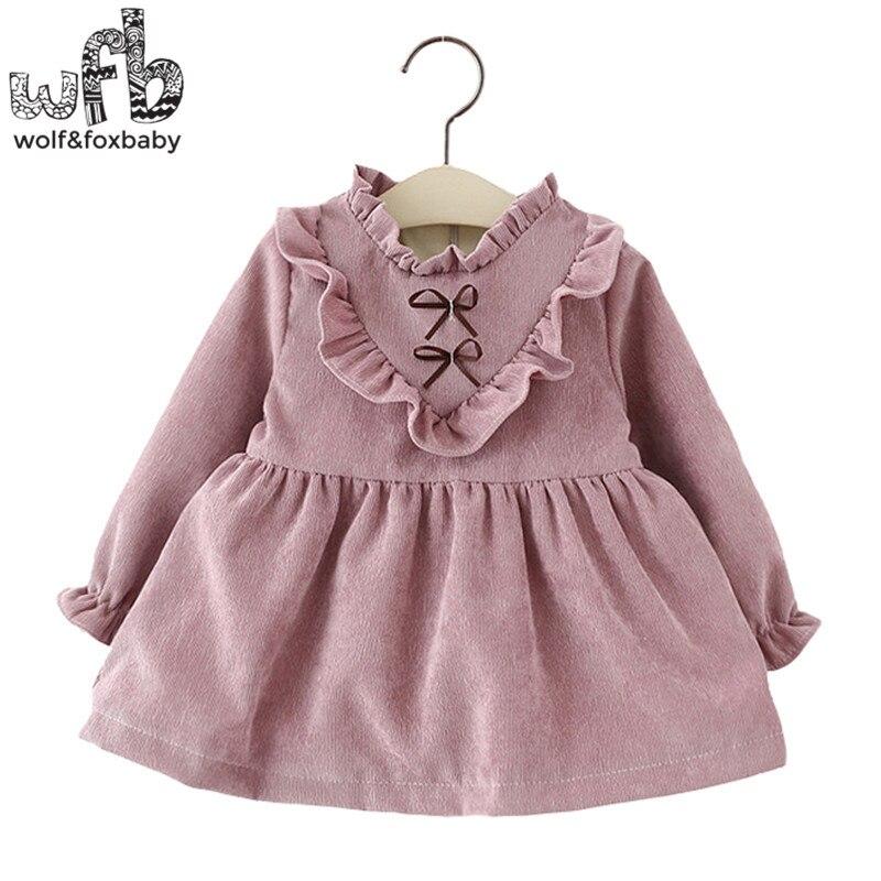 Retail 1 4 years dress full sleeves solid color Plus velvet girl clothing kids children spring
