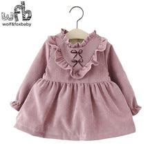 Détail 1-4 ans robe plein-manches solide couleur Plus de velours fille vêtements enfants enfants printemps automne automne hiver