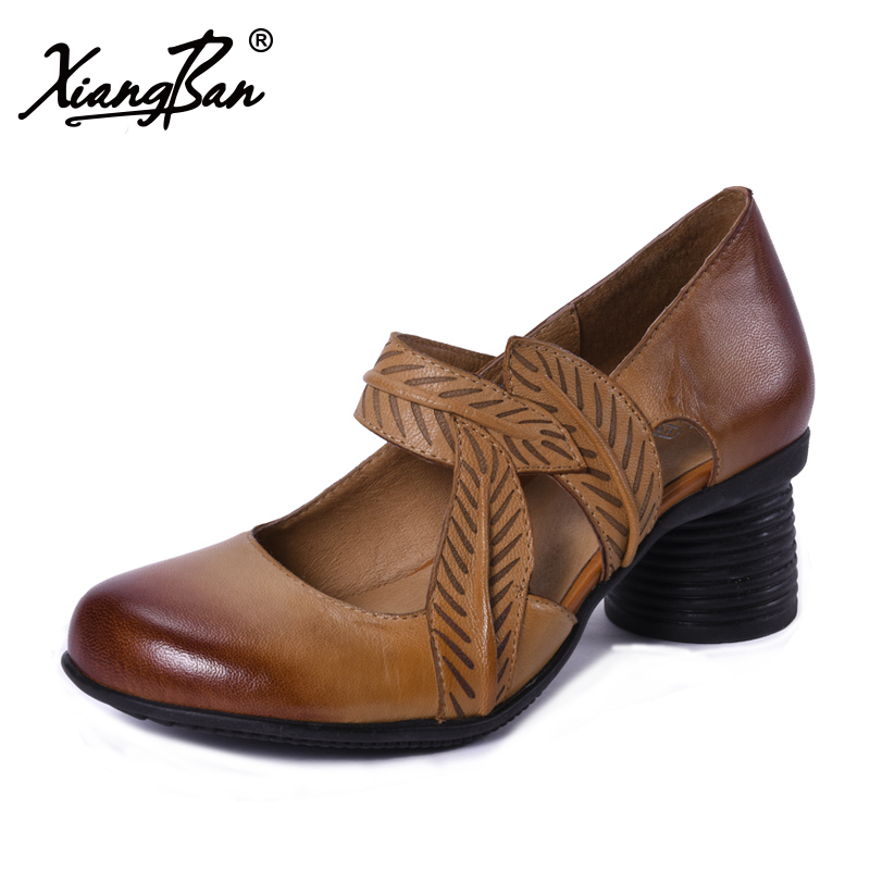 Xiangban 2018 Spring Shoes Women Genuine Leather Pumps Handmade High Heels Elegant Shallow Mouth цена