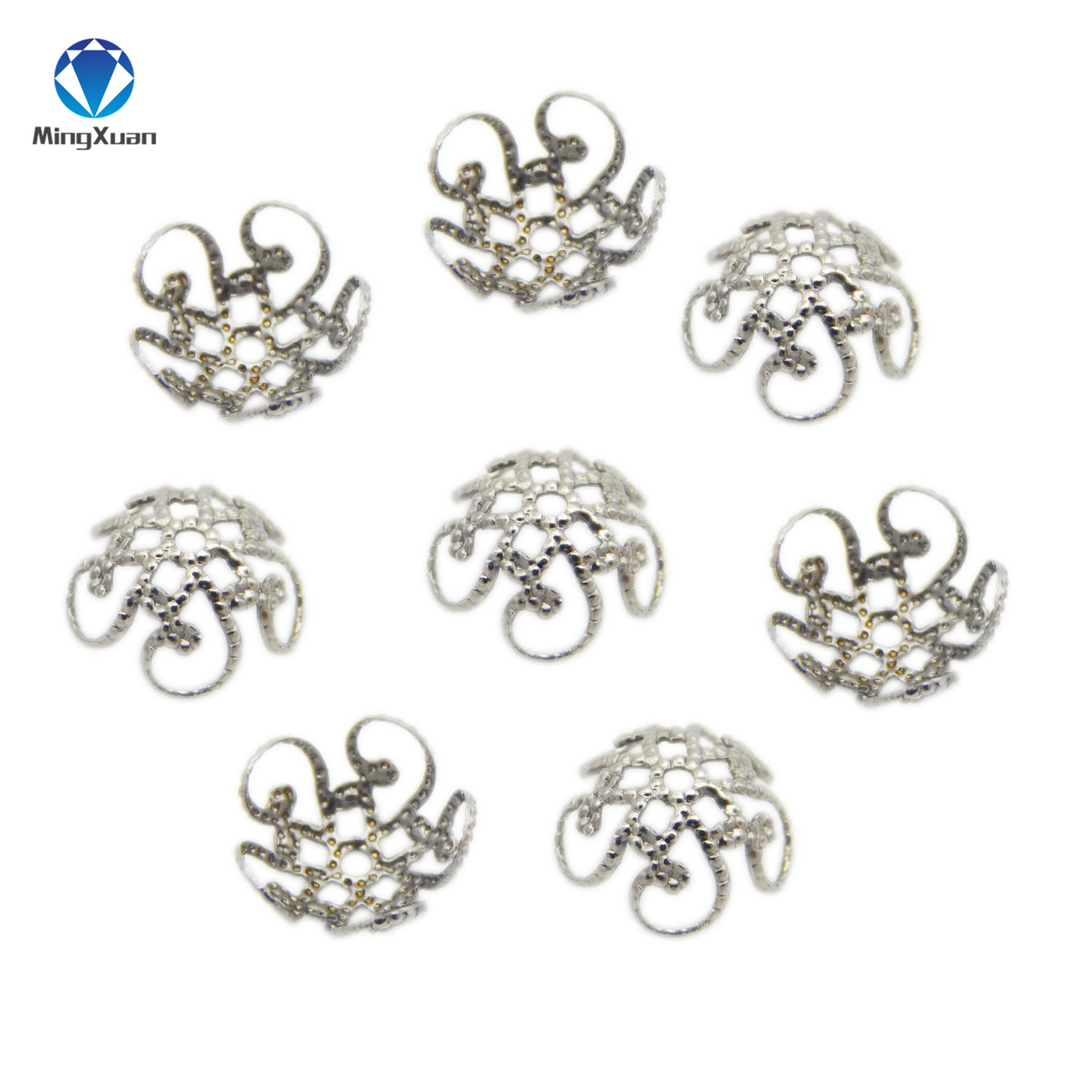 50pcs/lot 8/10mm Stainless Steel Silver Tone Flower End Caps Metal Filigree Charm Spacer Beads for DIY Jewelry Making Findings
