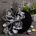 High Quality Vintage Wedding Hats For Women Black Tulle Veil Flowers Black Party Hat Chapeu Para Casamento SQN017