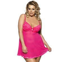 Factory direct wholesale sexy visible lingeries babydoll pajamas shaghetti strap skirt plus size above knee length 1F054