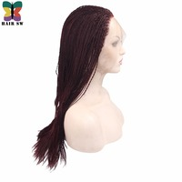 HAIR SW Handmade Long Senegalese 2x Twist Lace Wig Synthetic Fully Hand Braided Medium Twist For Afro Women 20 Afro/Burgundy