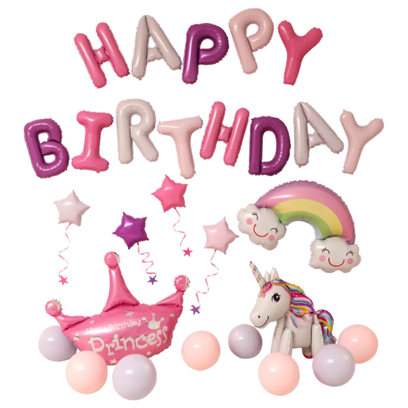Happy Birthday Party  Balloon set Aluminium Foil 16 inch Letter Balloons for Baby shower unicorn Party Decoration supplies Happy Birthday Party  Balloon set Aluminium Foil 16 inch Letter Balloons for Baby shower unicorn Party Decoration supplies