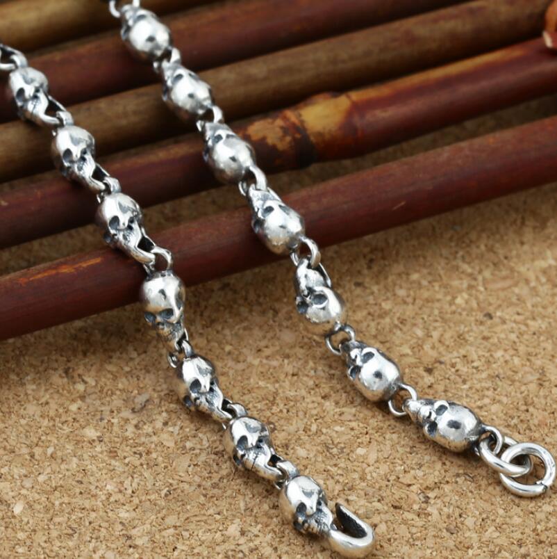 Pur argent 4.5mm épaisseur crâne lien chaîne argent collier Vintage Sterling 925 bijoux en argent