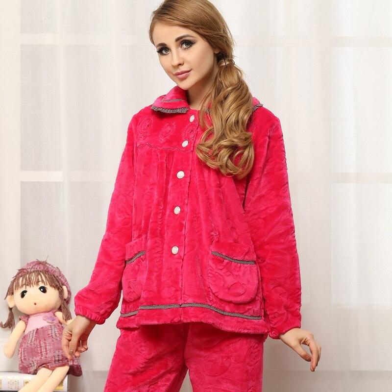 Nouveau 2018 pyjamas pour femmes hiver chaud vêtements de nuit en flanelle Cardigan femmes salon pyjama ensemble corail molleton survêtement femme