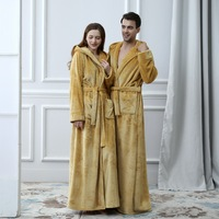 2018 Thermal Hooded Flannel Bathrobe Women Men Extra Long Thick Warm Winter Bath Robe Bridesmaid Robes Dressing Gown