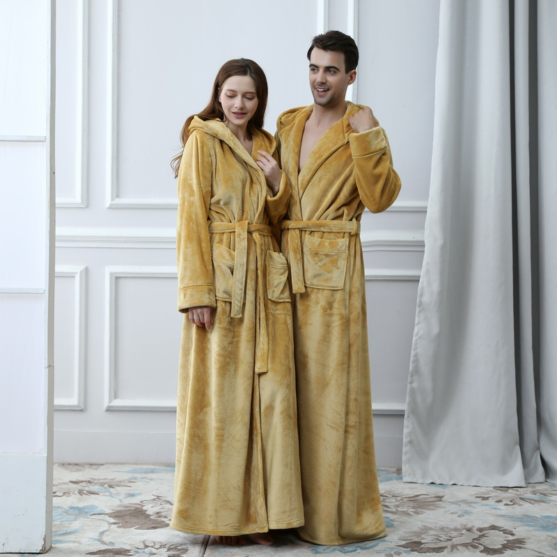 2019 Thermal Hooded  Flannel Bathrobe Women Men Extra Long Thick Warm Winter Bath Robe Bridesmaid Robes Dressing Gown