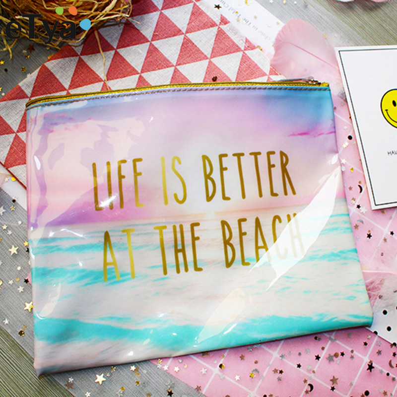 ETya Fashion Brand Cosmetic Bag 2018 New Makeup Case PVC Women Waterproof Toiletries Wash Travel Cosmetics Organizer Beach Bags