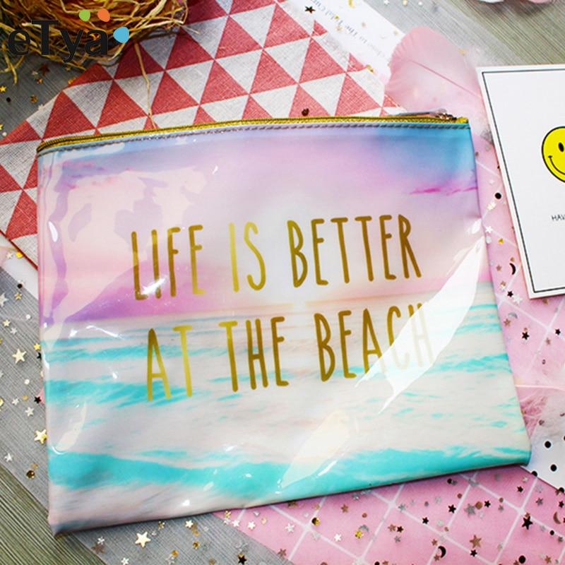 ETya Fashion Brand Cosmetic Bag 2018 New Makeup Case PVC Women Waterproof Toiletries Wash Travel Cosmetics Organizer Beach Bags