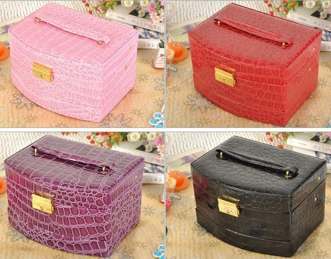 Luxury PU Leather Crocodile Grain Jewelry Box 3 Layers Fashion