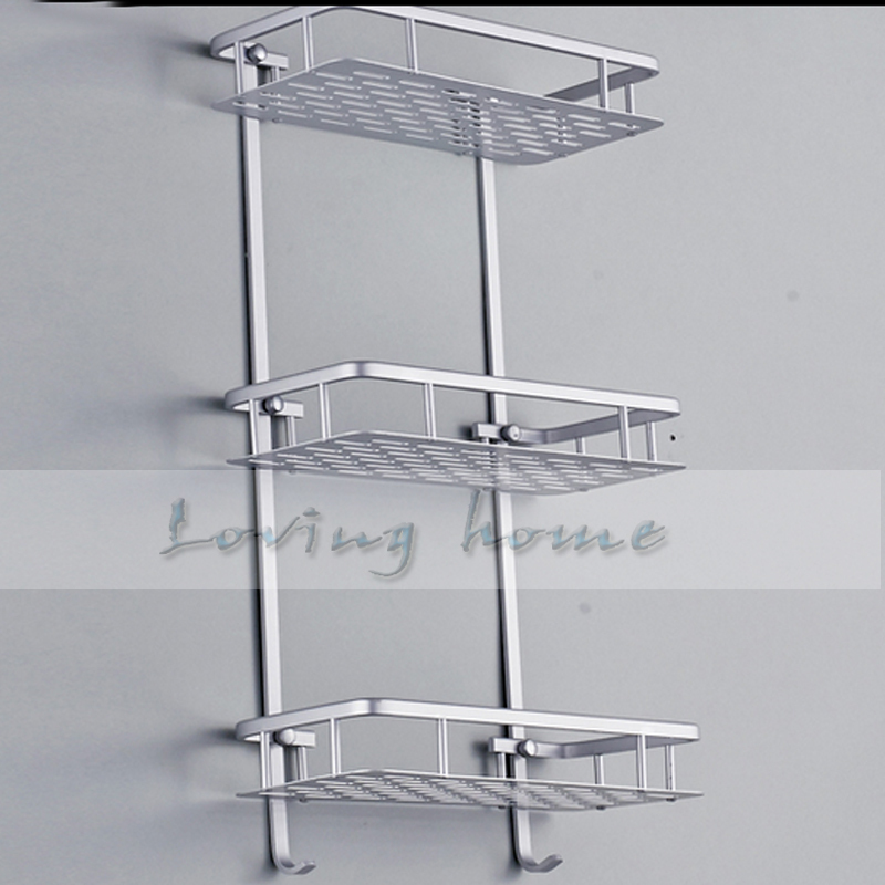Stainless Steel Bathroom Shelf Three Tiers Rack With Hooks In Shelves From Home Improvement On Aliexpress Alibaba Group