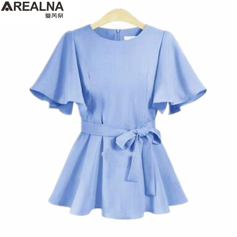 AREALNA Office Shirt Women Blouses 2018 summer Loose Butterfly Sleeve Ruffle Blouse women Tops with Belt Plus Size 5XL Blusas