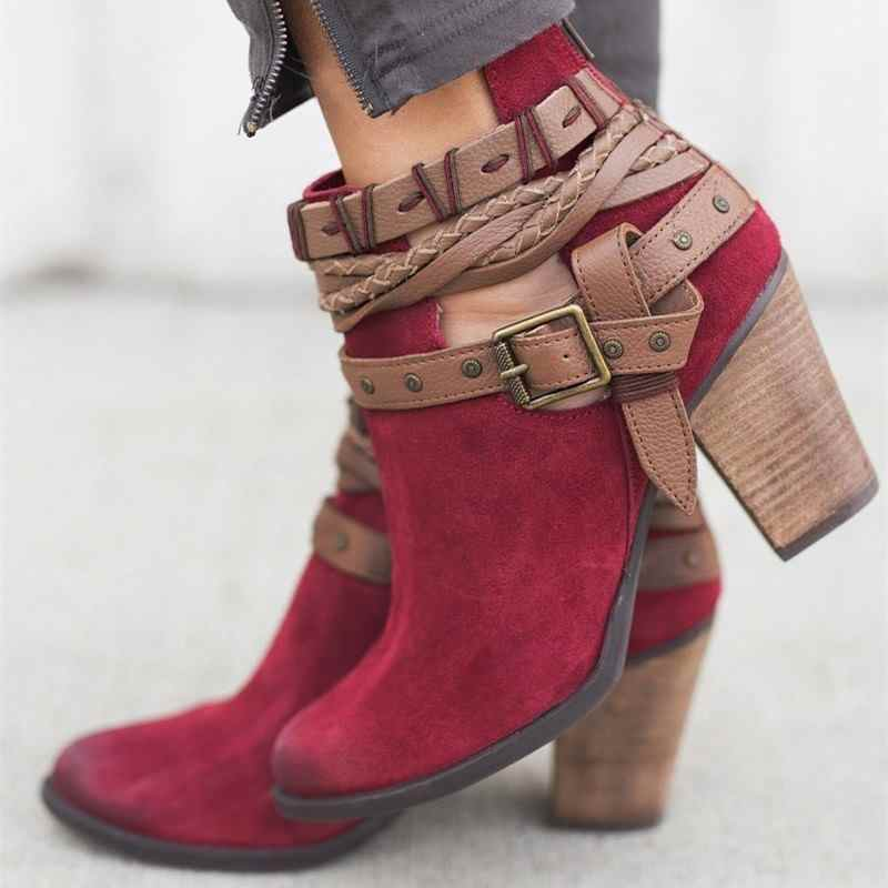 MEMUNIA 2019 Büyük boy 33-43 yarım çizmeler kadınlar için toka zip kalın yüksek topuklu bahar sonbahar çizmeler moda bayanlar botas ayakkabı
