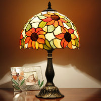 Tiffany European Pastoral Warm Fashion Creative Creative Bedroom Bedside Lamp Glass Touch Dimmer Living Room Lamp