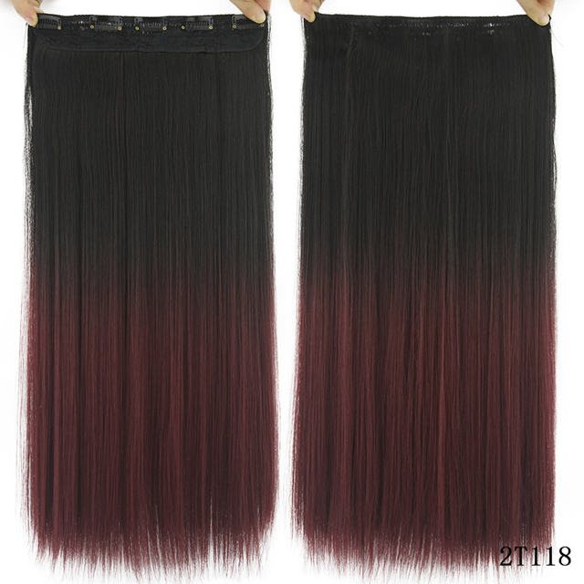 Soowee Long Straight Black to Gray Natural Color Women Ombre Hair High Tempreture Synthetic Hairpiece Clip in Hair Extensions 3