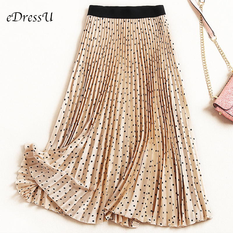 A Line Pleated Skirt Women Polka Dot Vintage Midi Skirt High Quality Elegant Chic Beige Black Summer Autumn Skirt LS-9820