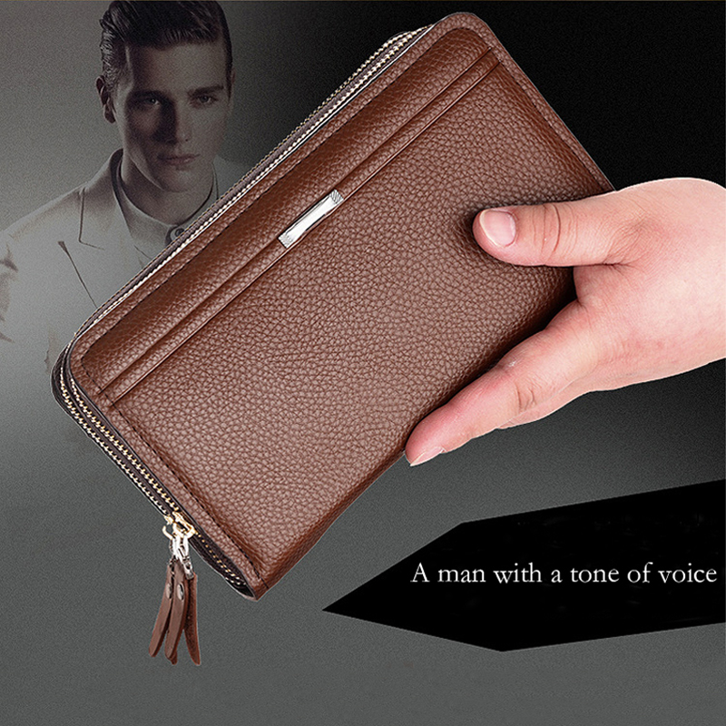 Luxury Brand Business Men Wallets Long PU Leather Cell Phone Clutch Wallet Purse Hand Bag Top Zipper Large Wallet Card Holders 2017 luxury brand men genuine leather wallet top leather men wallets clutch plaid leather purse carteira masculina phone bag