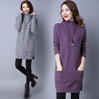 2018 Autumn Winter Warm Knitting Dress for Girls Turtleneck Thick Twist Pullovers Sweater Dress Female Long Sleeve Wool Dresses