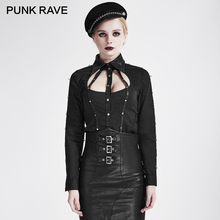 PUNK RAVE SteamPunk Black Cut-Out Shirt Collar Leather Stripes Long Sleeve Women Shirts Cosplay Club Party Hollow Out Blouses