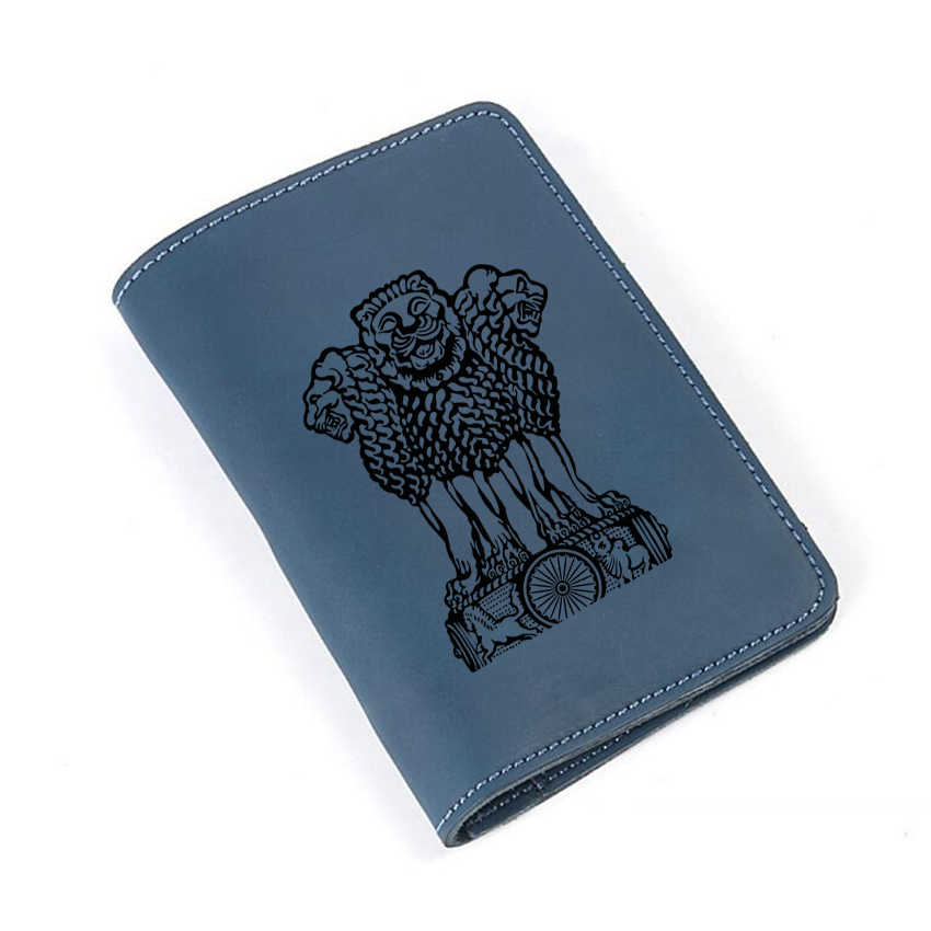 15c8f2f8e5bc Engraved Picture Emblem of India Travel wallet Leather Passport Cover Case  Card Holders Slim Purse Custom Name Passport wallet