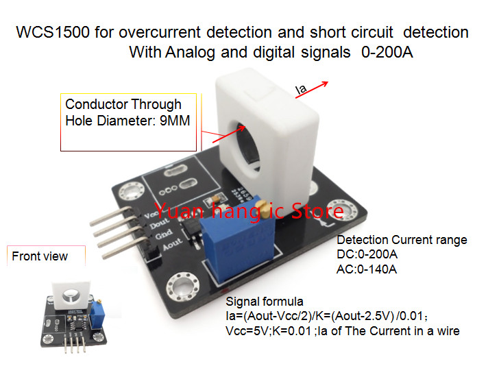 WCS1500 For Overcurrent Detection And Short Circuit Detection With Analog And Digital Signals Current Rang:0-200A 0.01V/1A