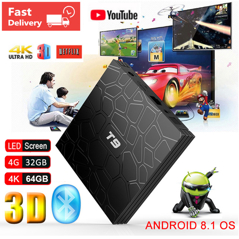 2019 T9 Android 8.1 Smart TV BOX 4 gb Ram 64 gb/32 gb Rom RK3328 1080 p H.265 4 karat Netflix Youtube Bluetooth 2,4g/5g WIFI Set Top Box