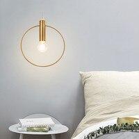 1pcModern personality Simple Chandelier Ring Art Deco Lighting Antique Gold Pendant Lobby Restaurant Single Chandelier E14 Light