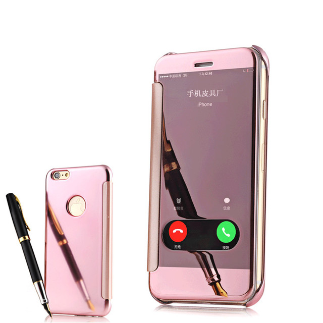the best attitude 73716 b98e4 Aliexpress.com : Buy NEW ! Luxury Clear View Mirror Screen Free Flip Answer  Call Leather Case For Apple iPhone 6 S 6S plus 6Plus Phone Bags Cover from  ...