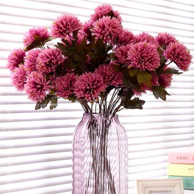 ประดิษฐ์ Dahlia Stem Faux Spider Dahlia ดอกไม้ผ้าไหมคุณภาพสูงดอกไม้บ้านงานแต่งงานตกแต่งสำนักงาน