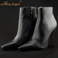 Women Winter Patent Leather Flock Pointed Toe Ankle Zipper High Heels Shoes Thin Female Boots Outdoor&snow Plus Size 4 16