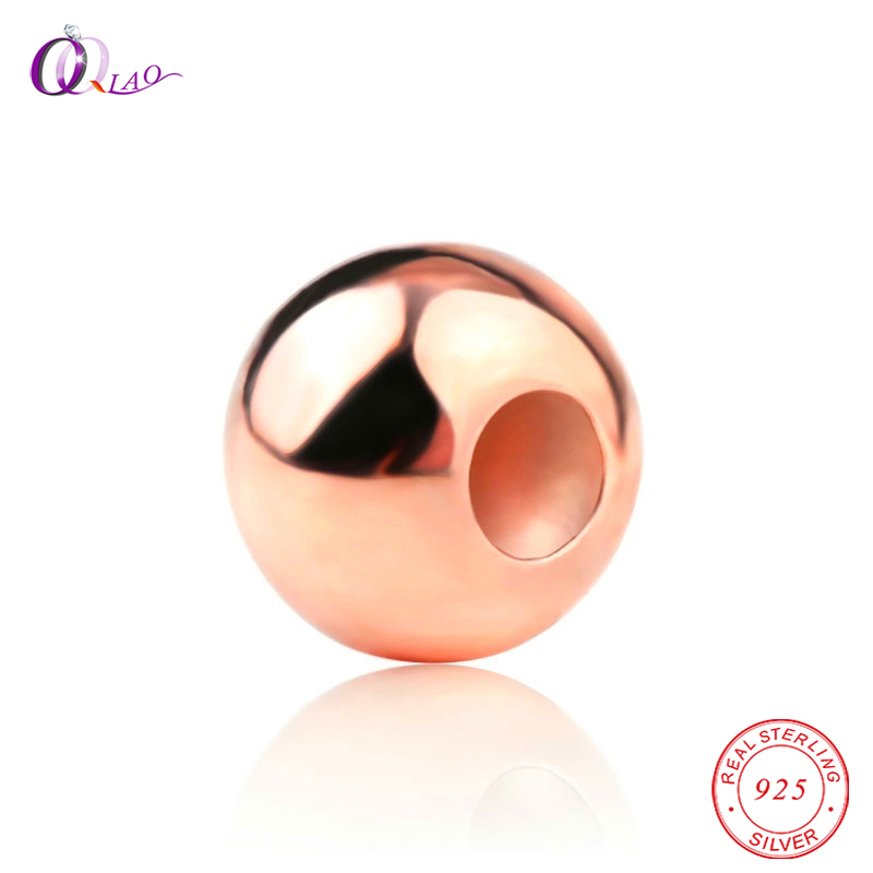 925-Sterling-Silver Beads Diy-Accessories Rose-Gold-Color for Jewelry Making 2-6MM Smooth