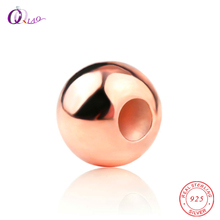 2-6MM Rose Gold color 925 sterling silver beads round smooth soild jewelry for Jewelry making DIY Accessories
