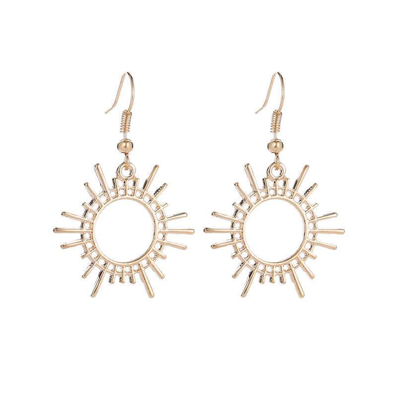 2019 Fashion Sun Gear Anting-Anting untuk Wanita Harajuku Jepang Emas Perak Hitam Kreatif Geometris Alloy Perhiasan Anting-Anting Menjuntai