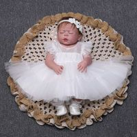 Summer Baby Girl Dress White Christening Dress for Newborn Baby Baptism Lace Birthday Party Dress Tutu Dress