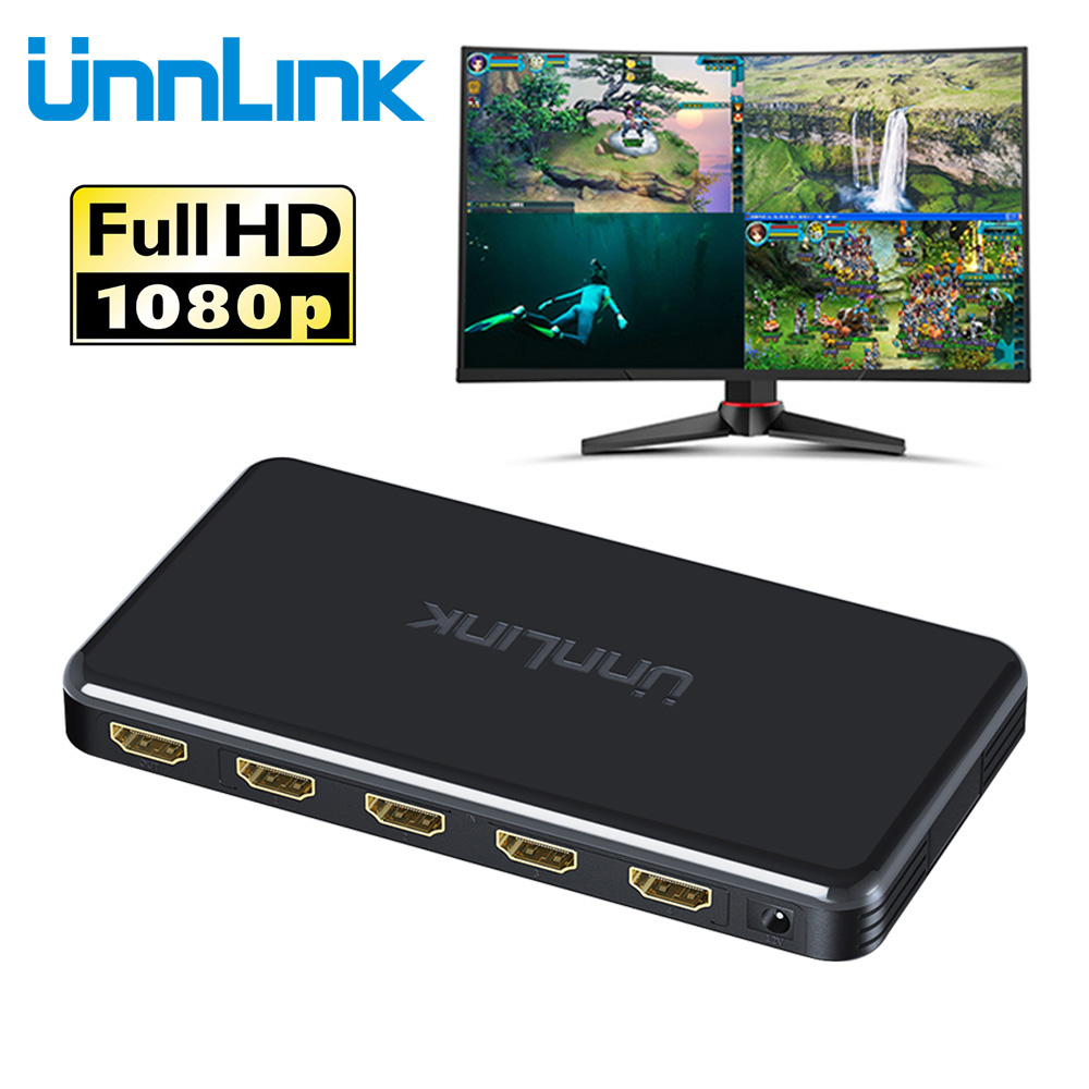 Unnlink 4x1 HDMI Quad Multi-viewer HDMI Seamless Switcher FHD 1080P 60Hz for tv box nintend switch ps4 xbox computer projector