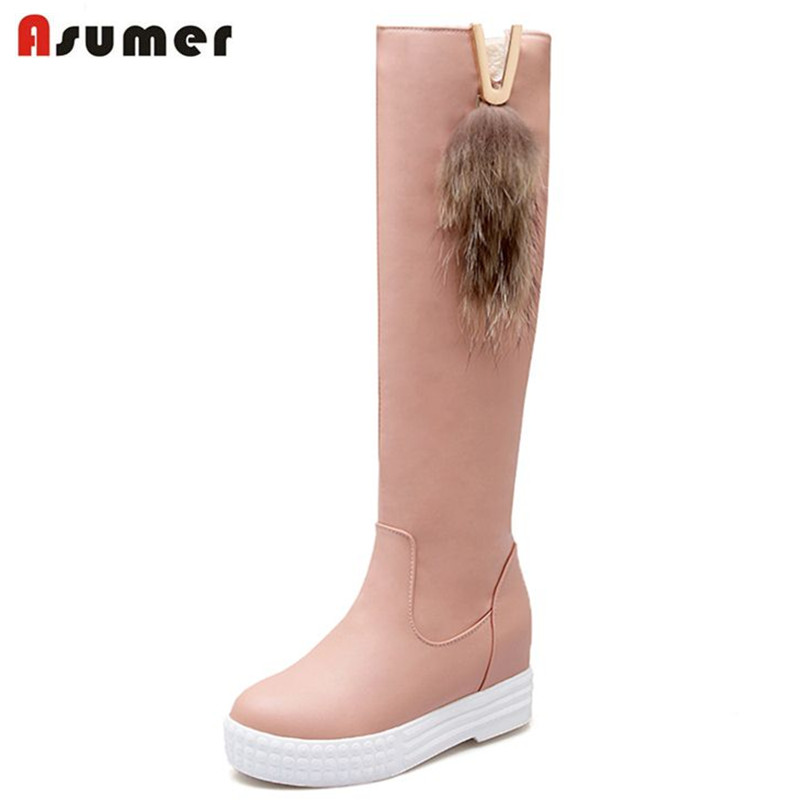 ASUMER hot fashion women shoes round toe med heels platform height increasing knee high boots thick fur winter warm snow boots size 34 42 2016 new high quality fall winter boots thick med heels platform shoes woman fashion add fur knee women boots