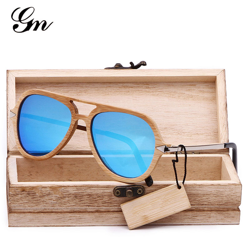 G M 2018 brand vintage bamboo and wood sunglasses male femal