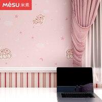 Children's Room Wallpaper Girl Pink Cartoon Cute Children's Bedroom Nonwoven Wallpaper Boy Sleeping Bear