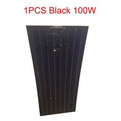 1 sztuk czarny panel słoneczny 100 w pół elastyczny panel słoneczny 18 V mono krystaliczny moduł ogniw słonecznych do 12 v kable rozruchowe ładowarka