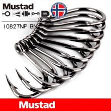 Mustad Fishing Hooks 10827NP-BN Carp Hook 1# 1/0 -12/0 South Oil Giant Sea Barbed Fishhook Black Fish High Carbon Steel Pesca
