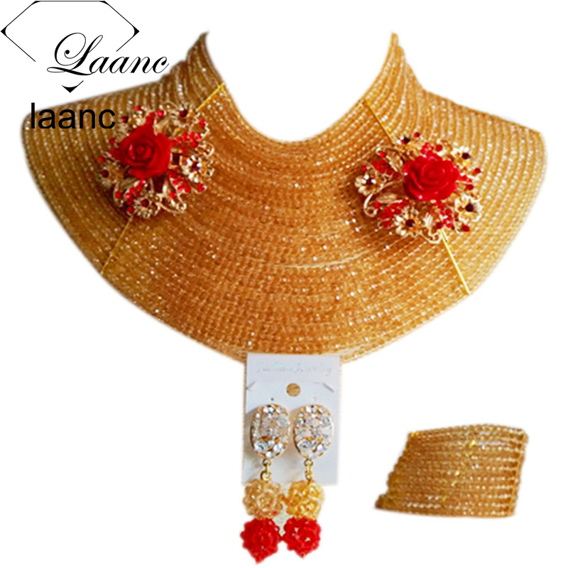 Laanc 4mm 25 Rows Full Dubai African Gold Jewelry Set for Brides Nigerian Beads Necklace and Earrings AL568Laanc 4mm 25 Rows Full Dubai African Gold Jewelry Set for Brides Nigerian Beads Necklace and Earrings AL568