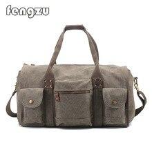 Fengzu Men's Hiking Duffle Bag ,Large Canvas Travel Tote Luggage Handbag