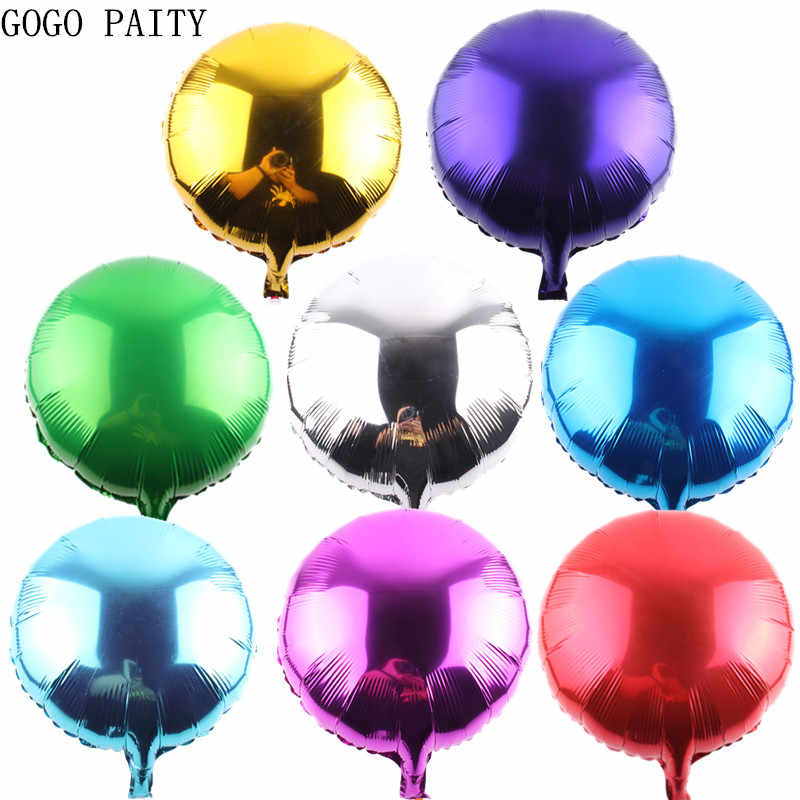 GOGO PAITY  Free shipping hot 18 inch monochrome circular aluminum balloon festive party layout decoration balloon wholesale