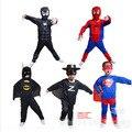 2016 Niños Spiderman Zorro Superhéroe Trajes de Navidad y Halloween Ropa Cosplay trajes de manga larga Establece E1357