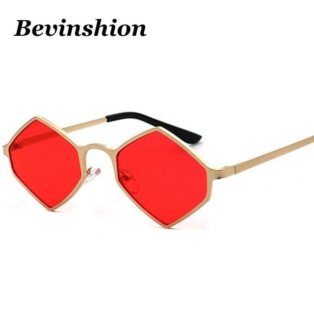 2018 Nouveau Carré Losange lunettes de Soleil Femmes Hommes Rouge Rose  Jaune Lentille Métal Tendance Marque 374c9cdf546b