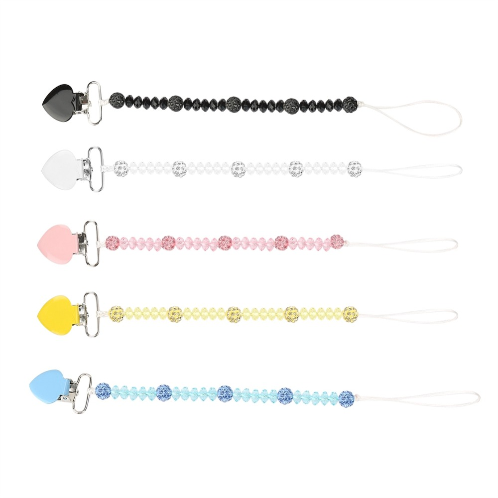 Newborn Pacifier Clips Chain Leash Strap With Nipple Crystal Baby Infant Soother Nipple Holder 2018 Hot Sale Baby Pacifier Clips