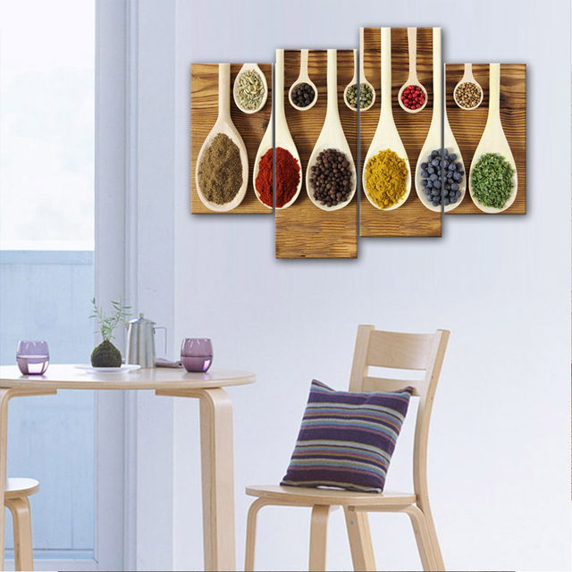 4 Pieces Seasoning Painting Wall Art A Variety Of Food Spices In The Spoon Picture Print