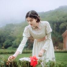 Весенне-осеннее женское хлопковое винтажное платье-миди, королевское кружевное платье со стоячим воротником и пышными рукавами, хлопковое элегантное тонкое платье, женское платье